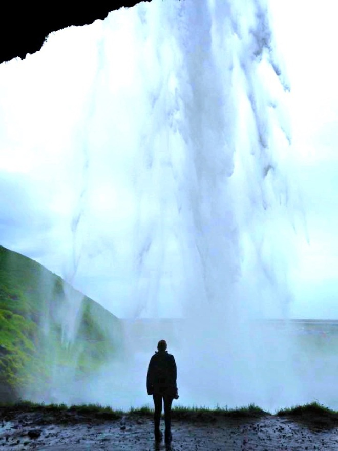 Walking behind Seljalandsfoss