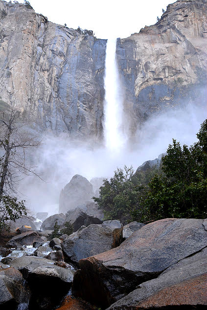 Bottom of Bridalveil Falls in yosemite national park