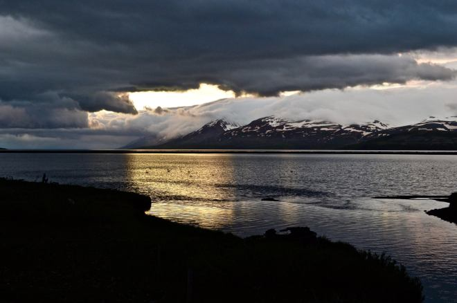 sun set at midnight in Akureyri, North Iceland