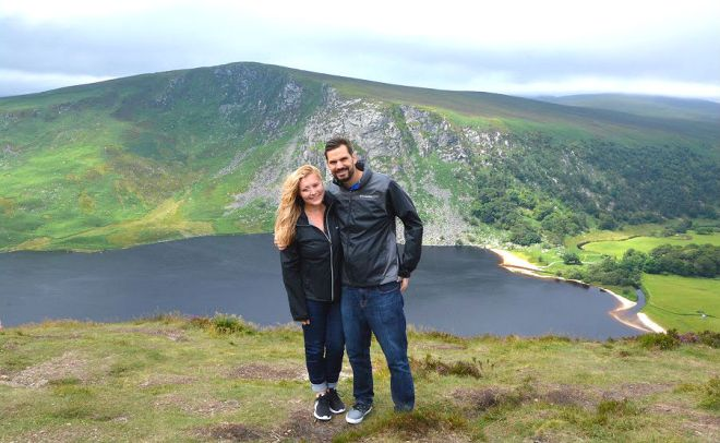 Lough Tay and Guinness Lake in wicklow mountains