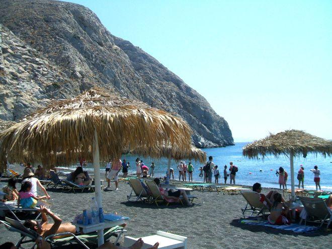 Perissa Black Sand Beach Santorini Greece