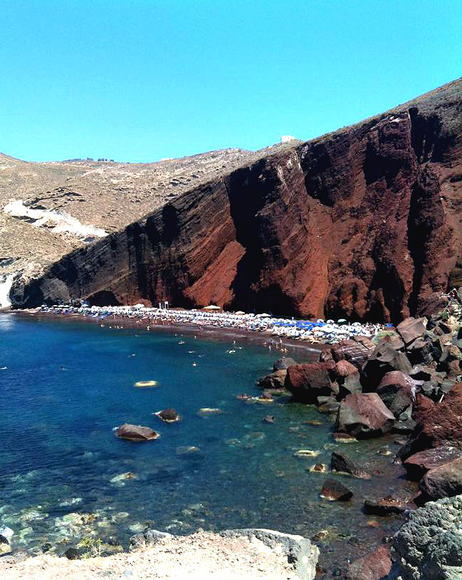 The Red Beach in Santorini Greece